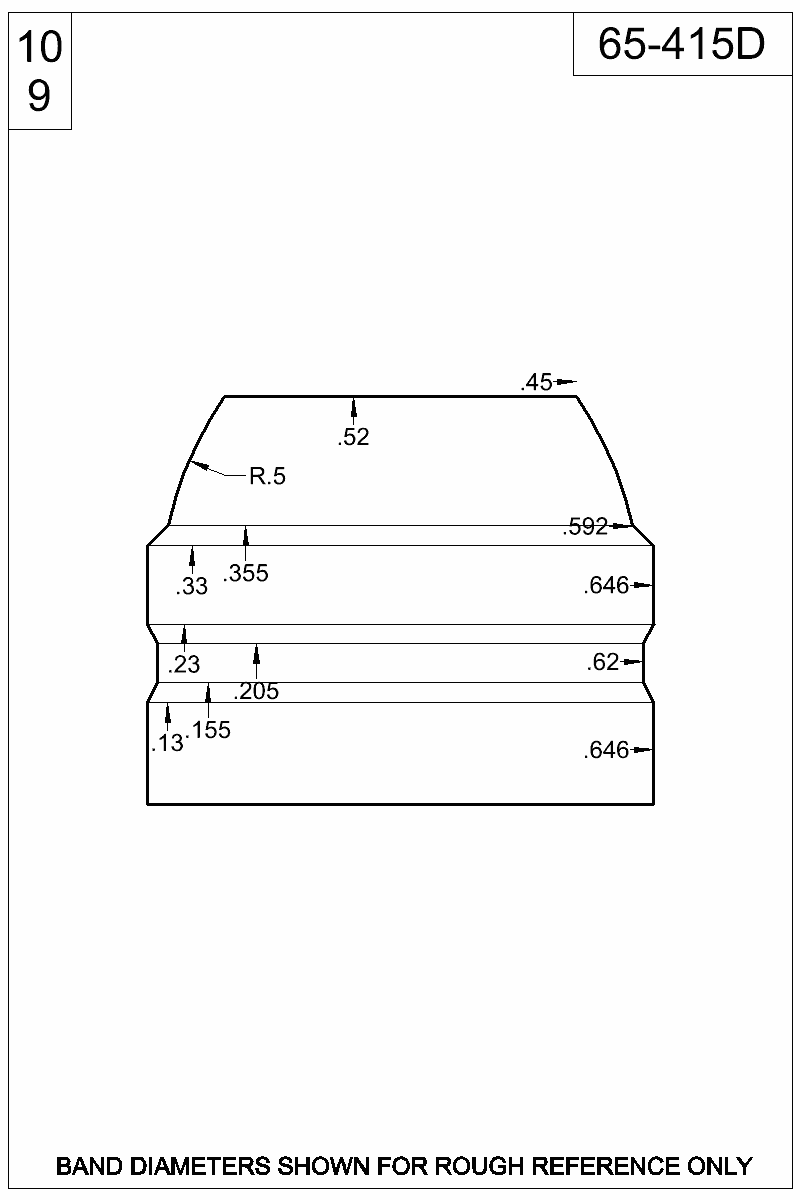 Dimensioned view of bullet 65-415D.