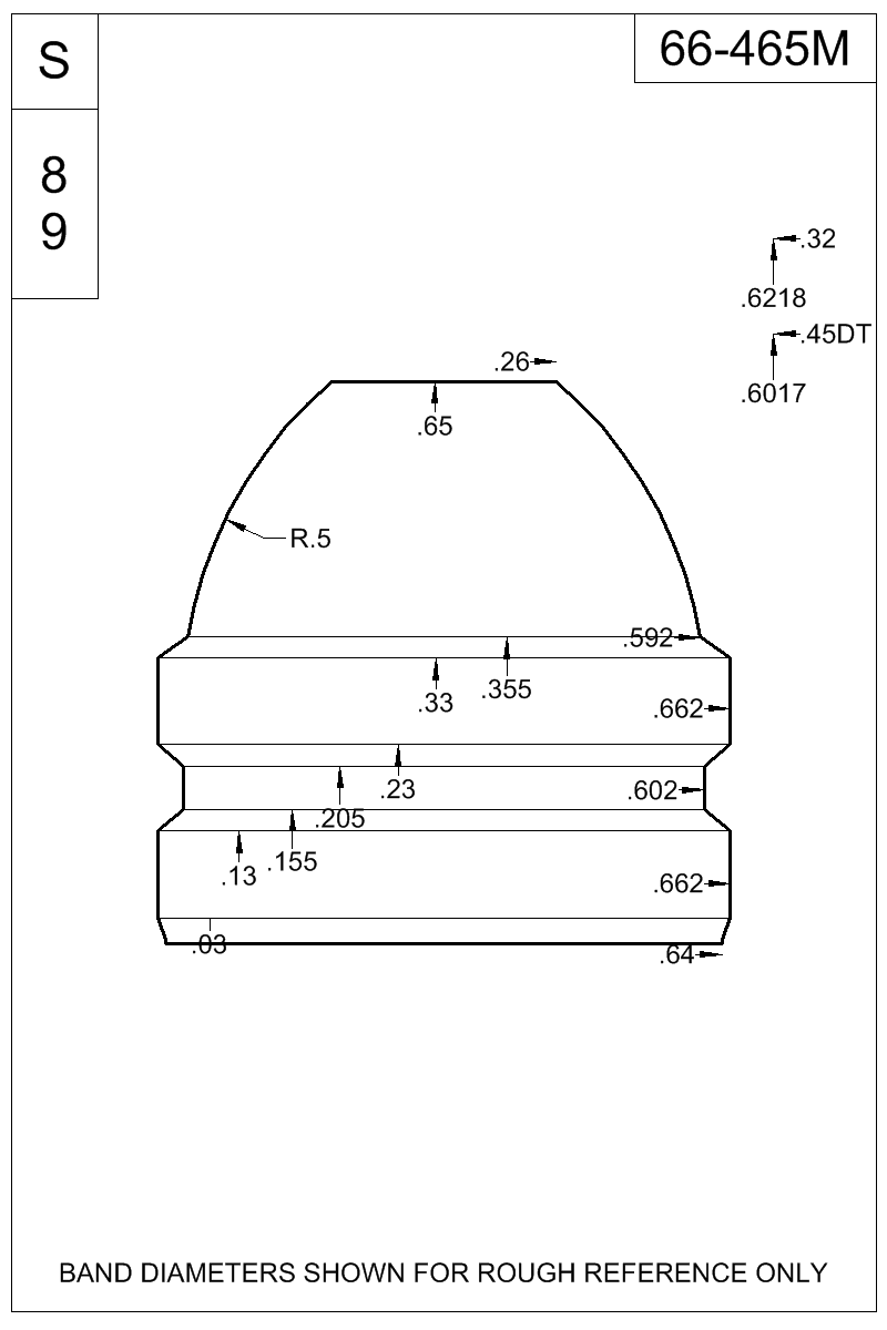 Dimensioned view of bullet 66-465M.
