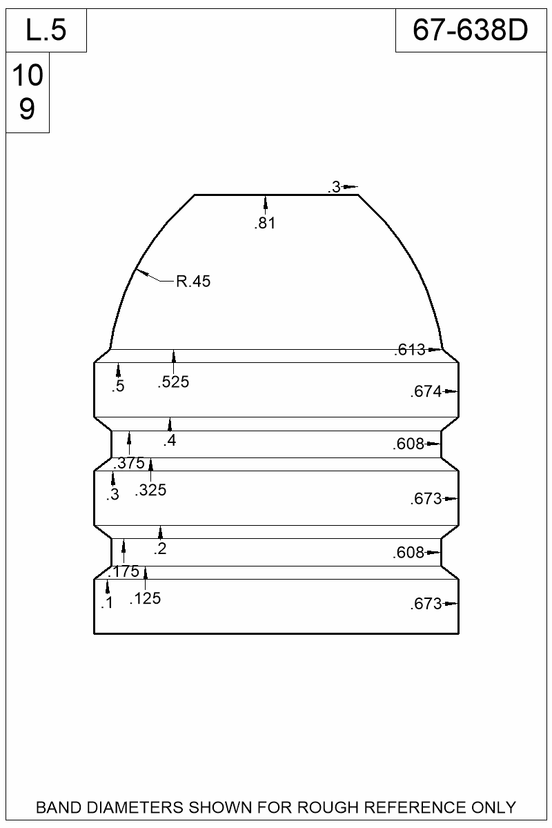 Dimensioned view of bullet 67-638D.