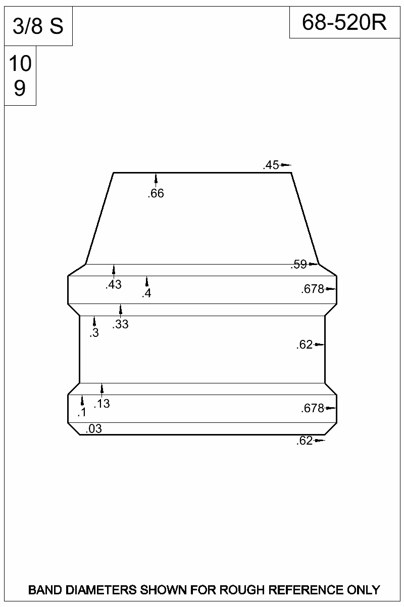 Dimensioned view of bullet 68-520R.