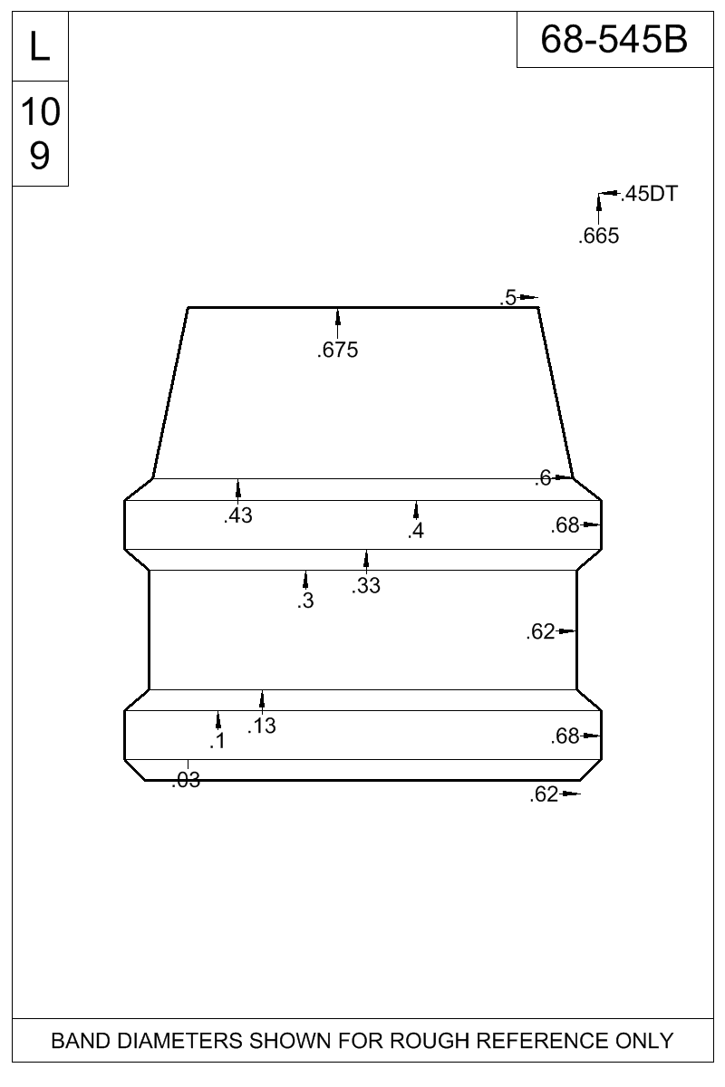 Dimensioned view of bullet 68-545B.