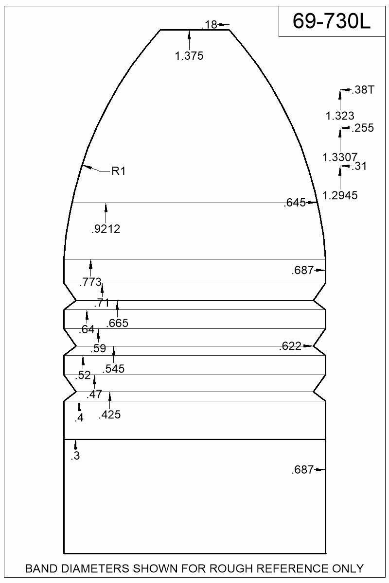 Dimensioned view of bullet 69-730L.