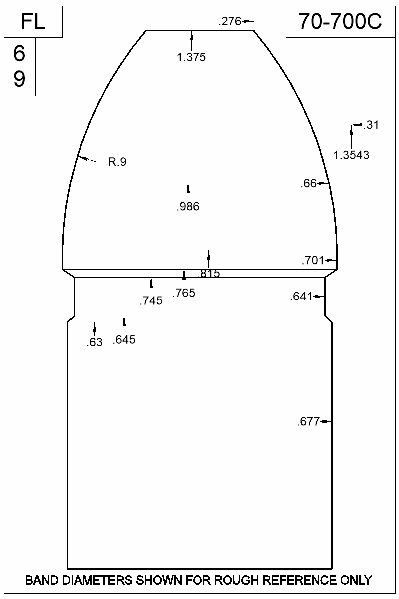 Dimensioned view of bullet 70-700C.