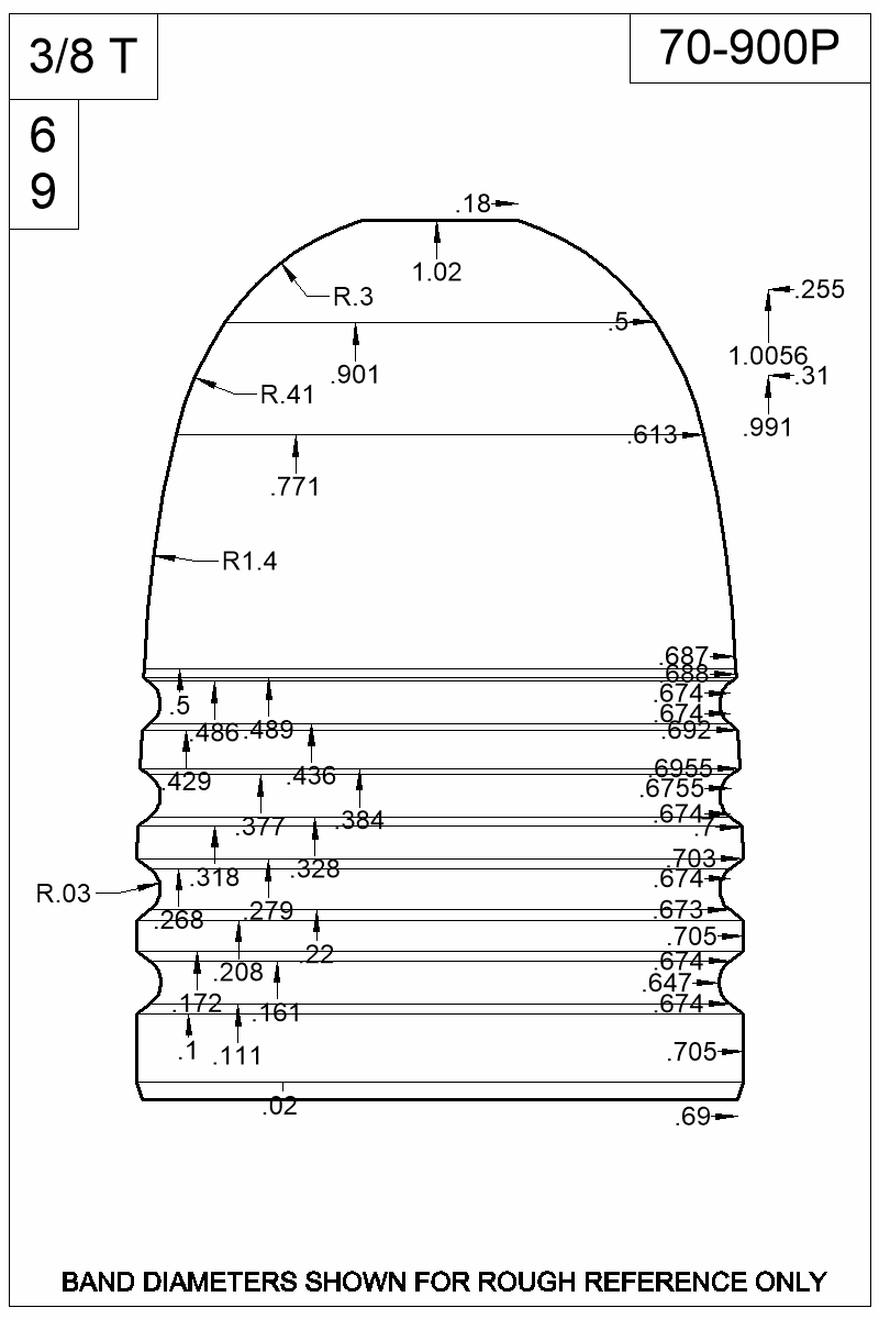 Dimensioned view of bullet 70-900P.