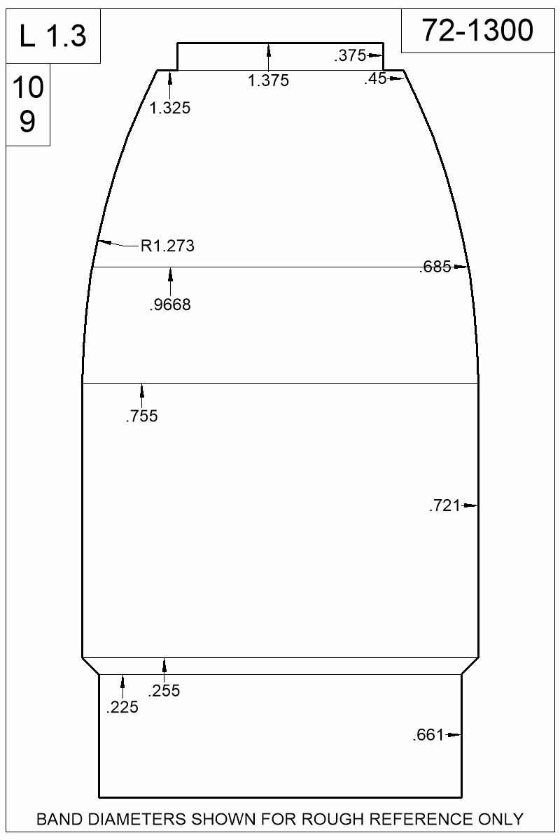 Dimensioned view of bullet 72-1300.