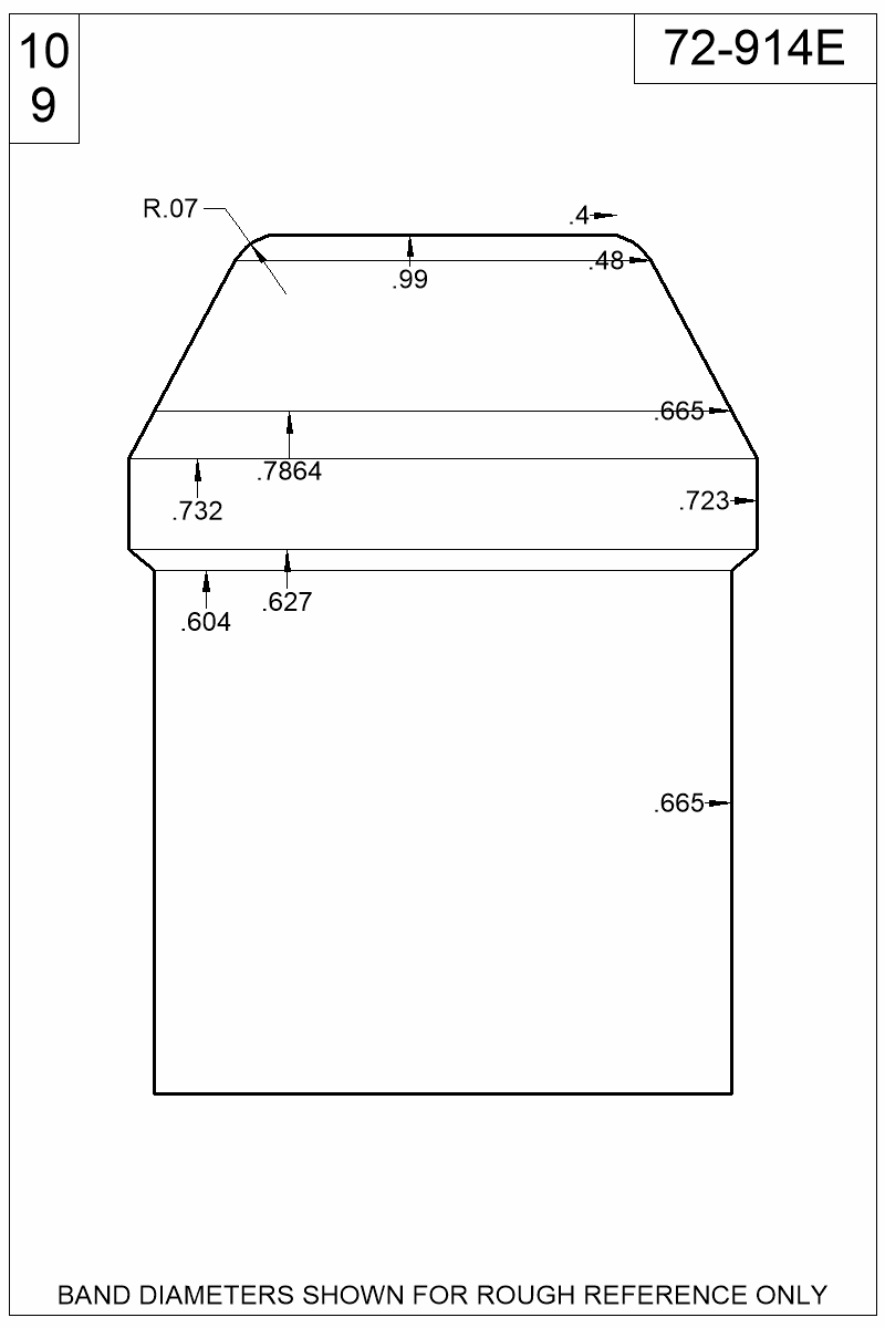 Dimensioned view of bullet 72-914E.