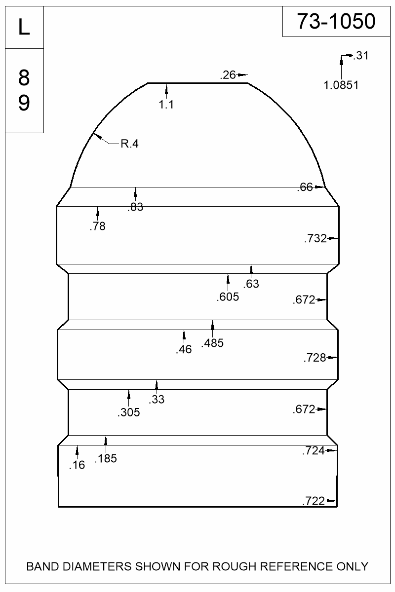 Dimensioned view of bullet 73-1050.
