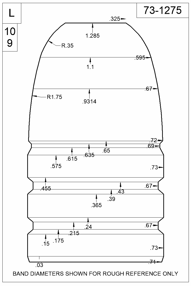 Dimensioned view of bullet 73-1275.