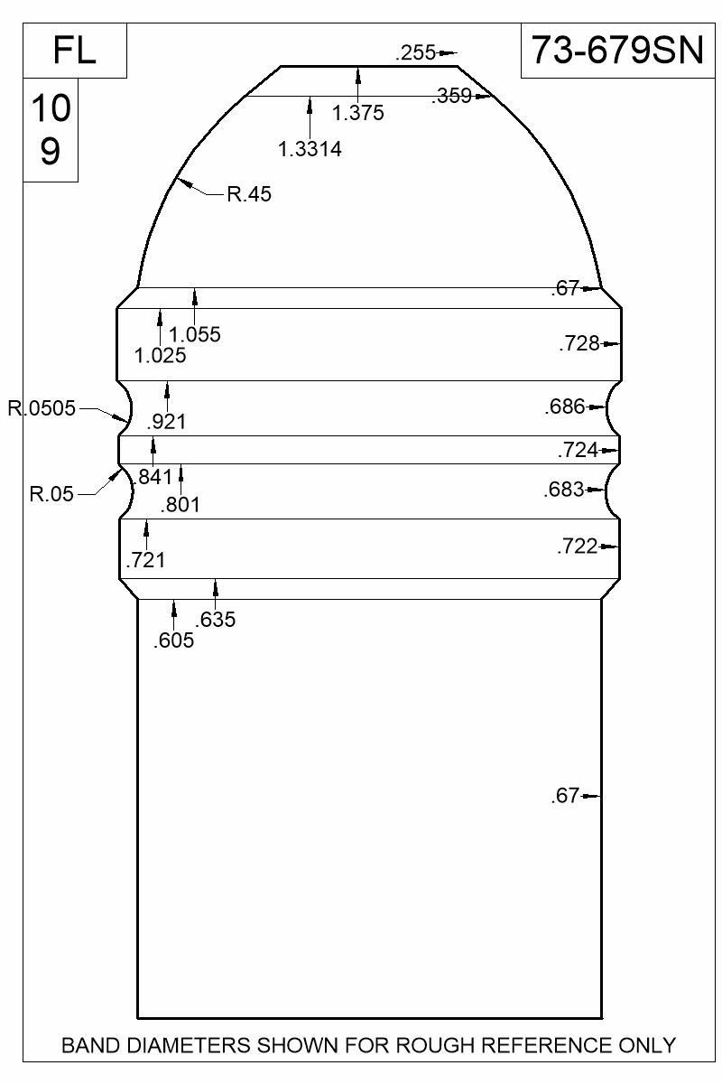 Dimensioned view of bullet 73-679SN.