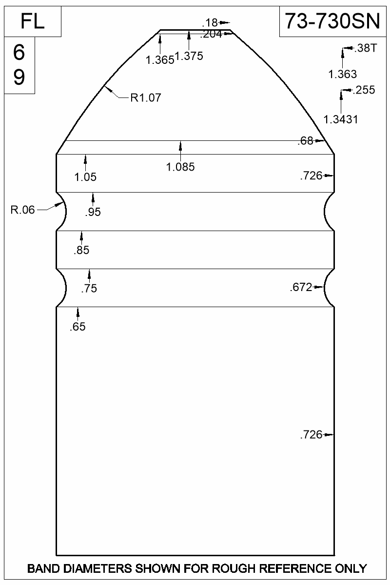 Dimensioned view of bullet 73-730SN.