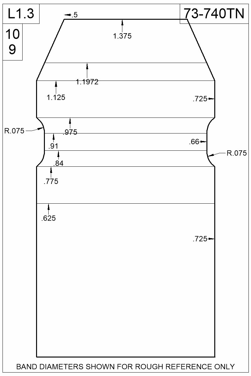 Dimensioned view of bullet 73-740TN.