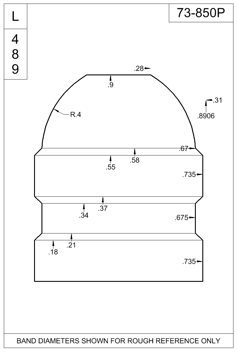 Dimensioned view of bullet 73-850P.