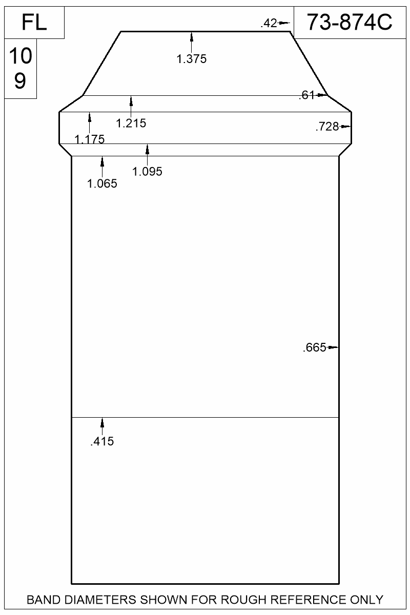 Dimensioned view of bullet 73-874C.