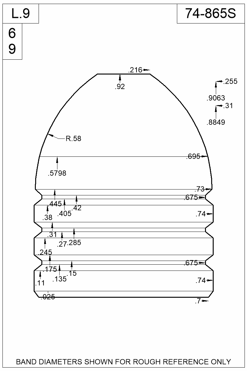Dimensioned view of bullet 74-865S.