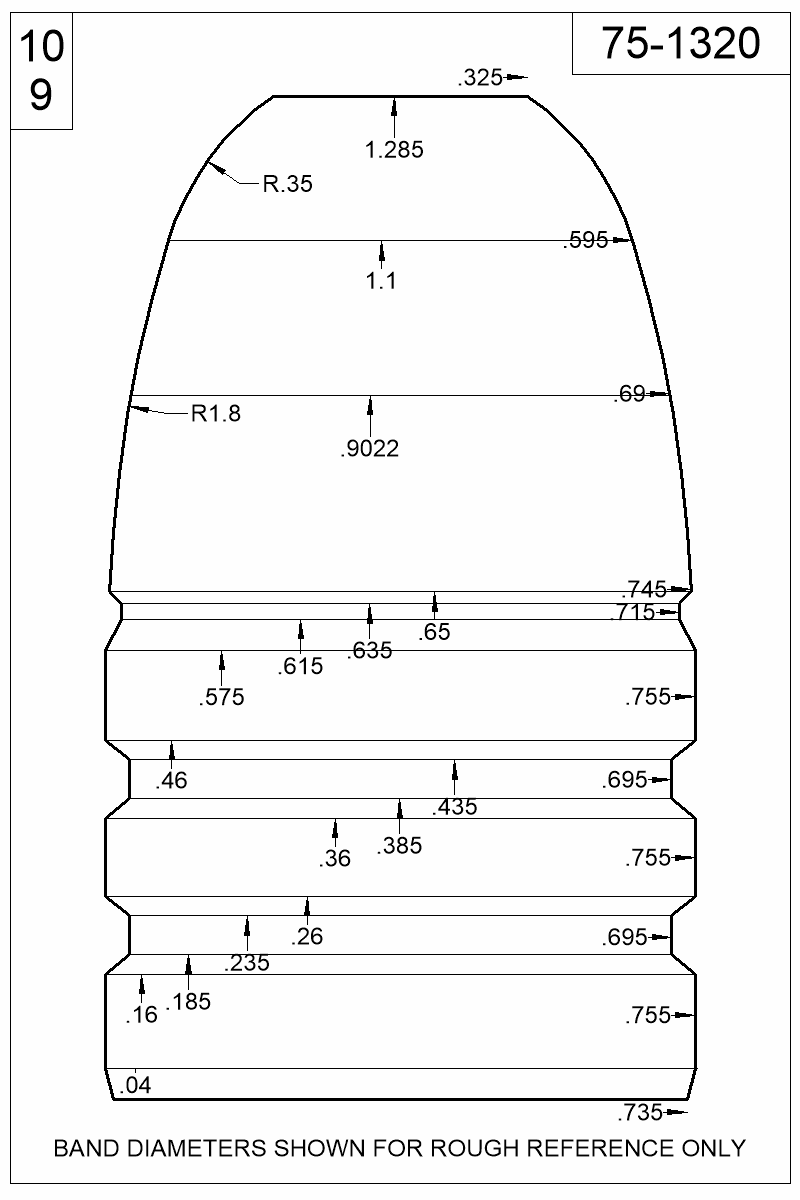 Dimensioned view of bullet 75-1320.