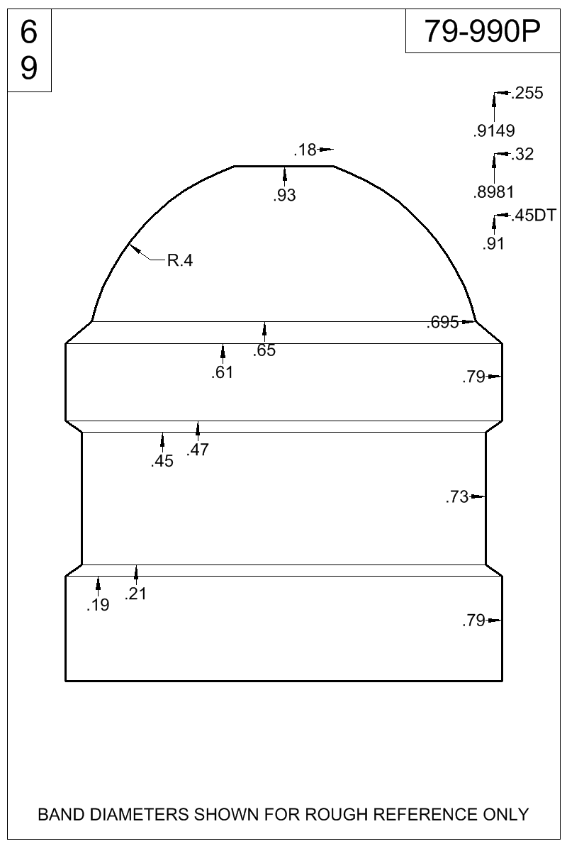 Dimensioned view of bullet 79-990P.