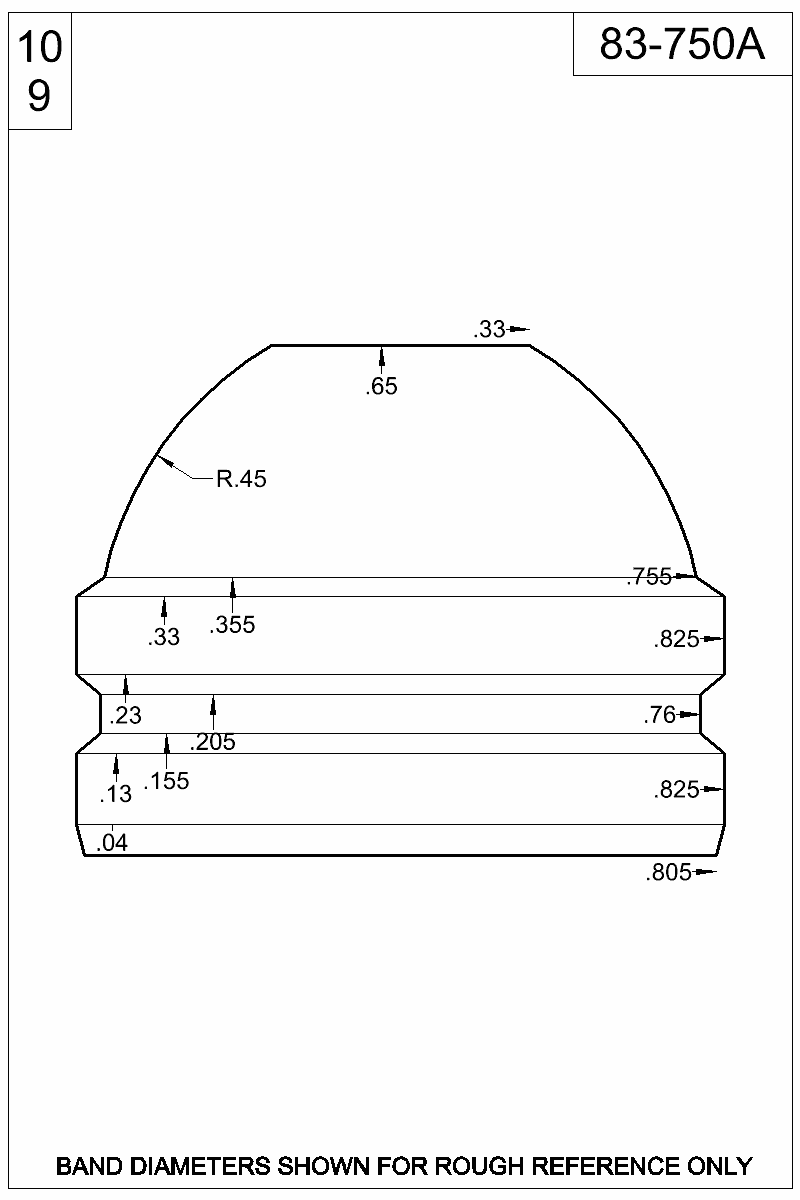 Dimensioned view of bullet 83-750A.