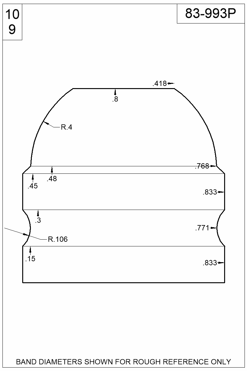 Dimensioned view of bullet 83-993P.