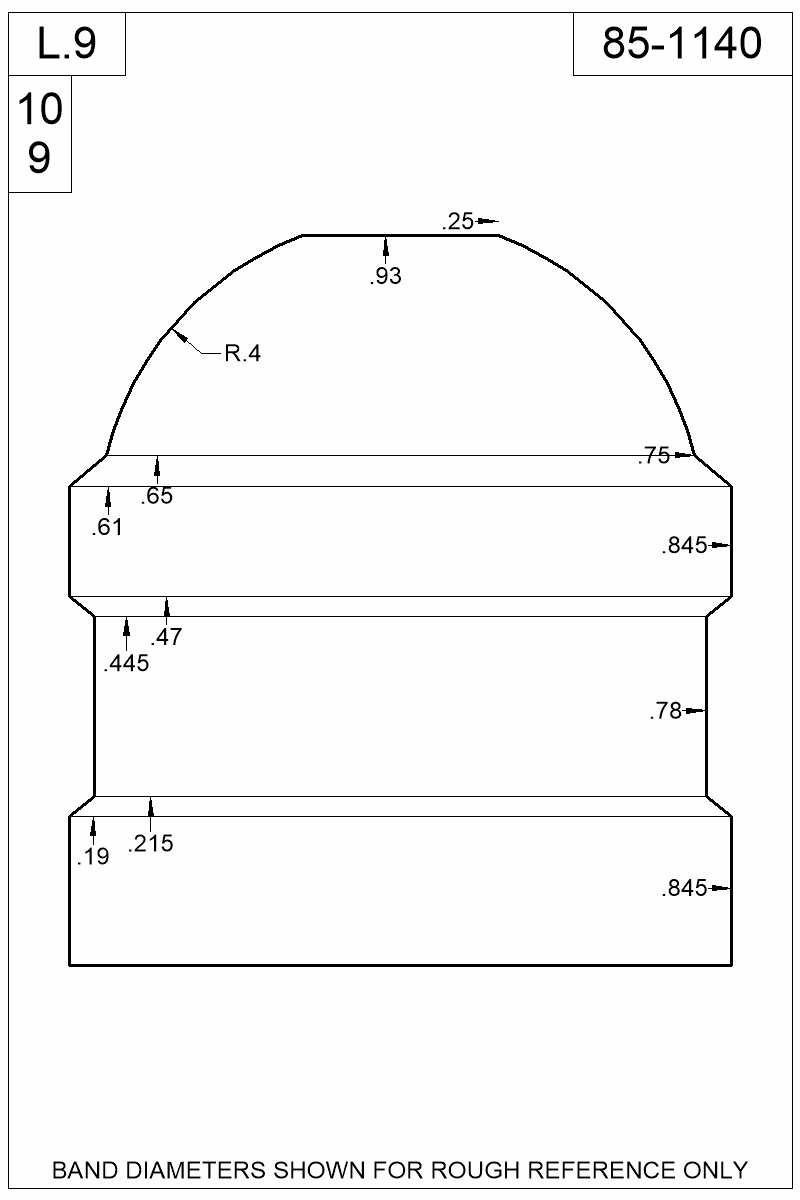 Dimensioned view of bullet 85-1140.
