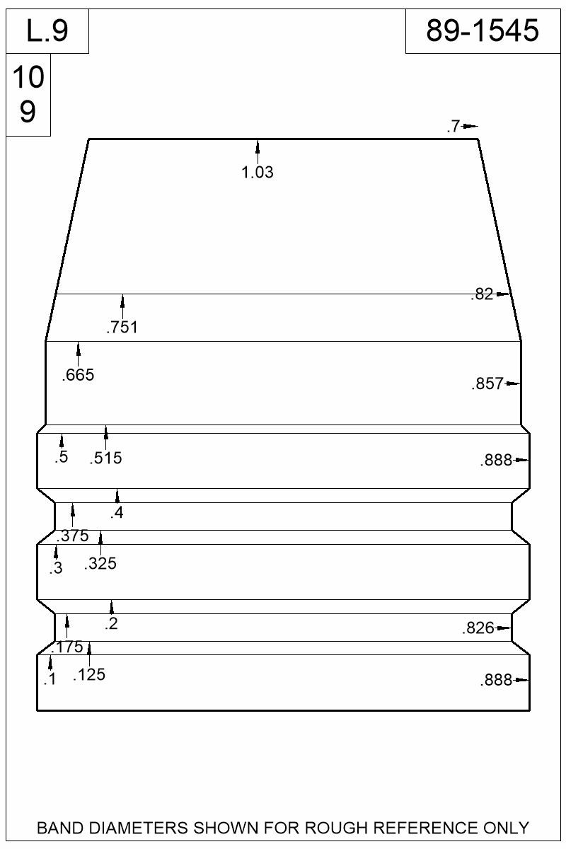 Dimensioned view of bullet 89-1545.