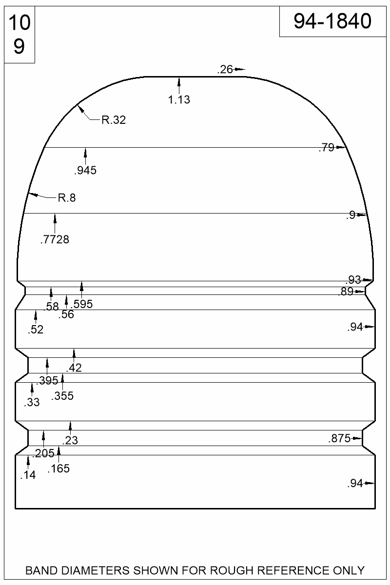 Dimensioned view of bullet 94-1840.