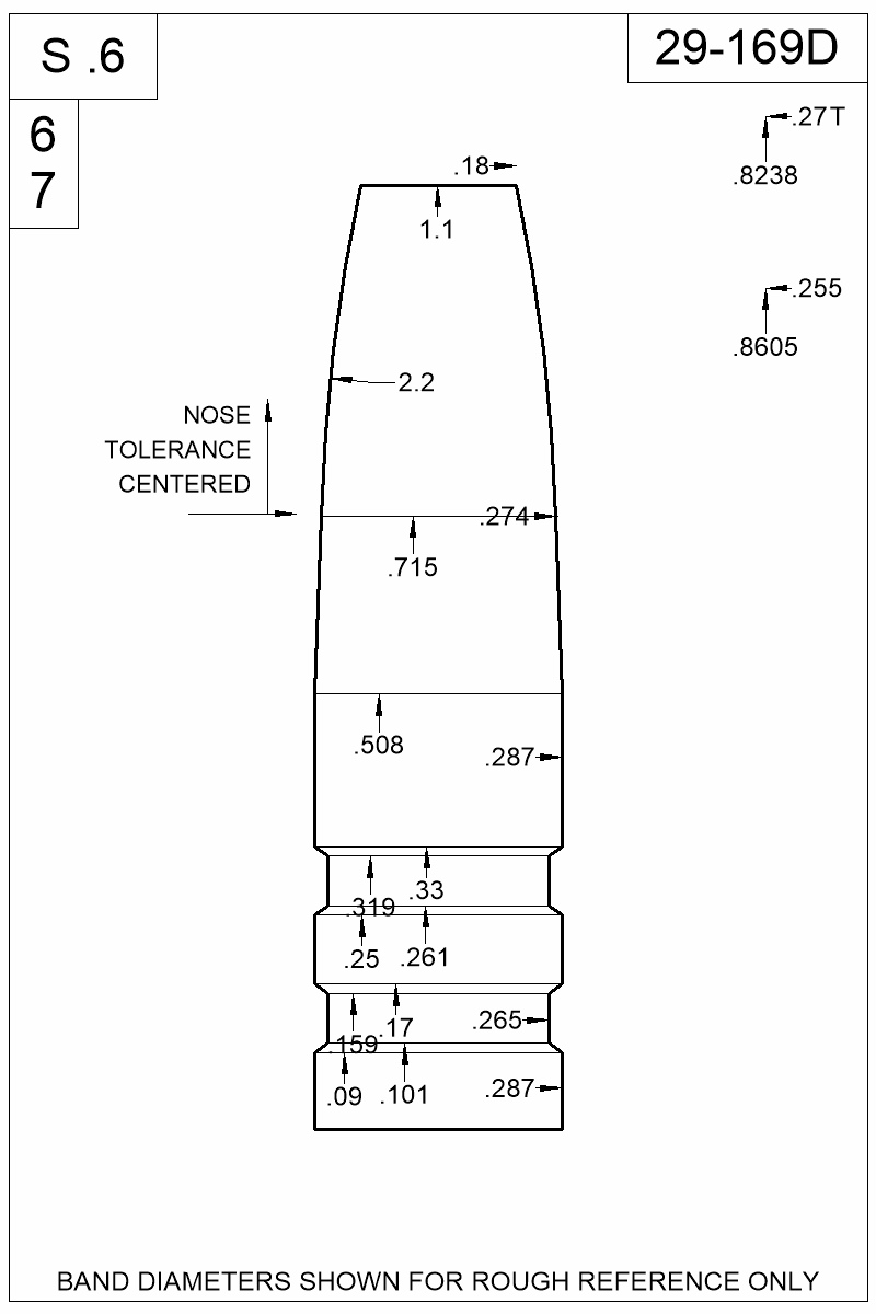 Dimensioned view of bullet 29-169D.
