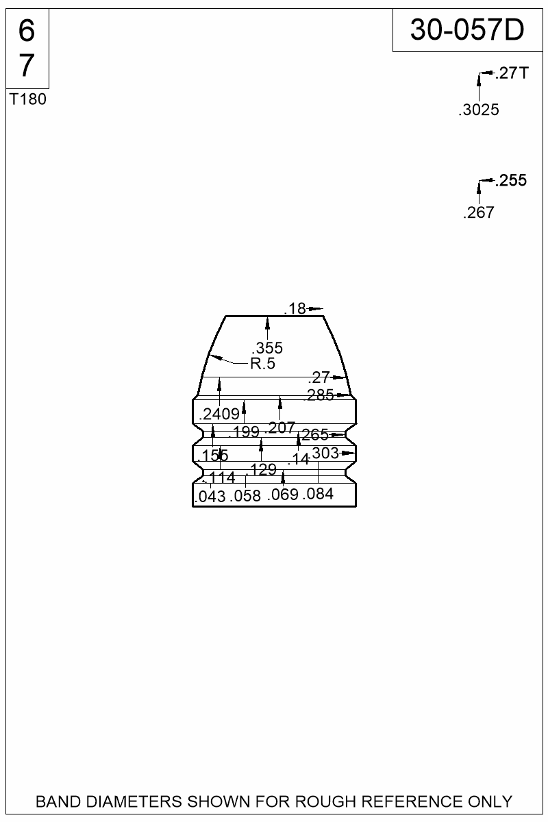 Dimensioned view of bullet 30-057D.