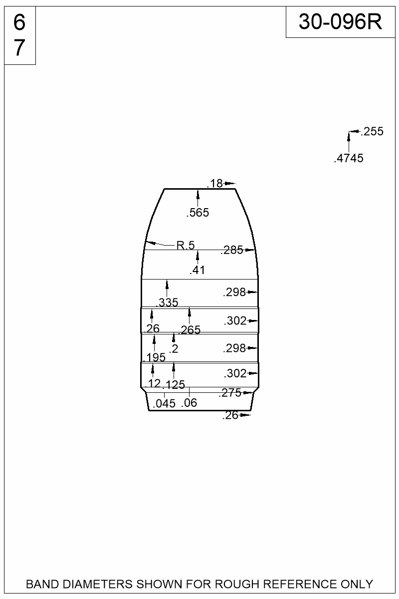Dimensioned view of bullet 30-096R.