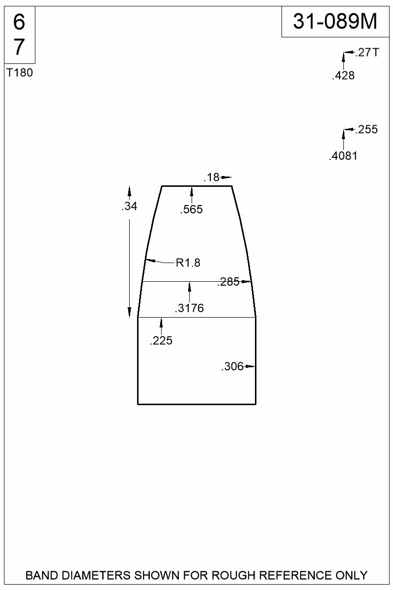 Dimensioned view of bullet 31-089M.