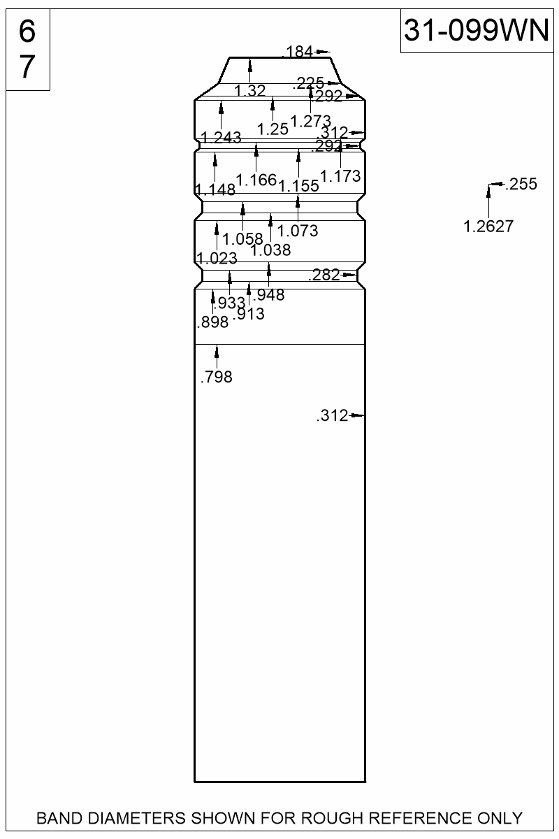 Dimensioned view of bullet 31-099WN.