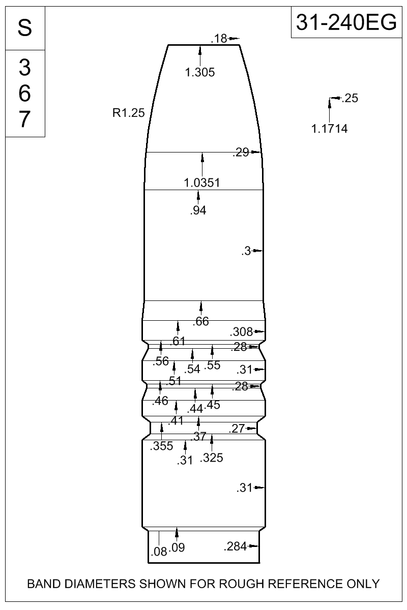 Dimensioned view of bullet 31-240EG.