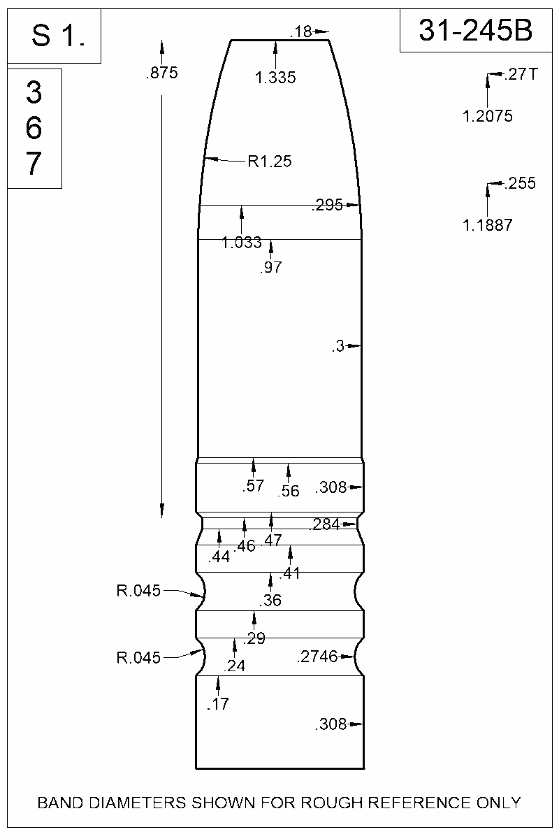 Dimensioned view of bullet 31-245B.