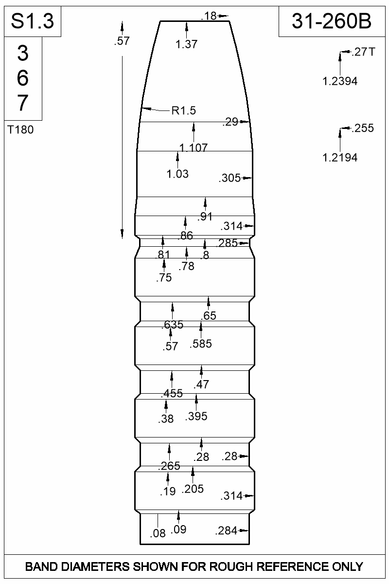 Dimensioned view of bullet 31-260B.
