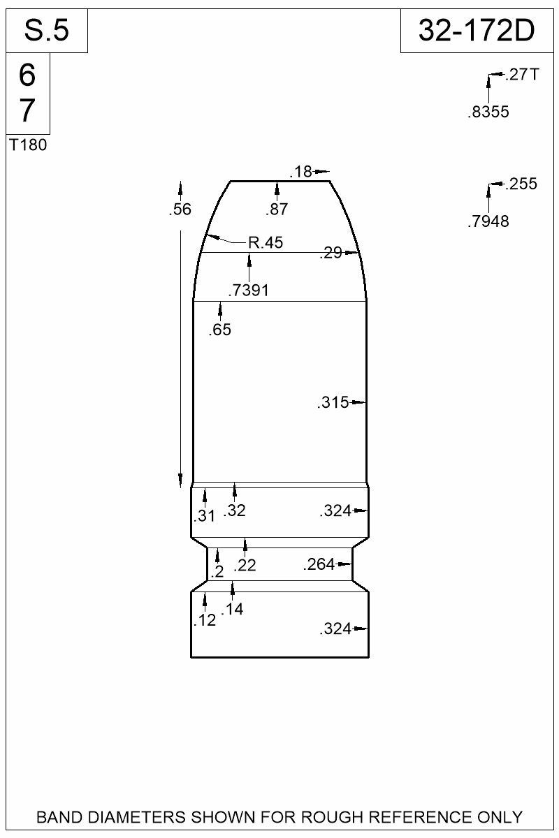 Dimensioned view of bullet 32-172D.