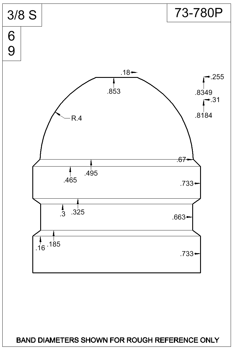 Dimensioned view of bullet 73-780P.