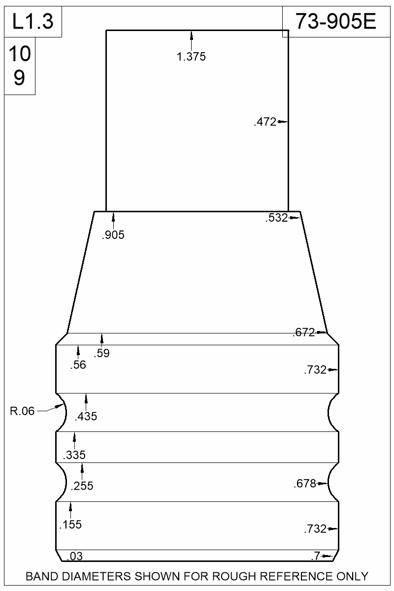 Dimensioned view of bullet 73-905E.