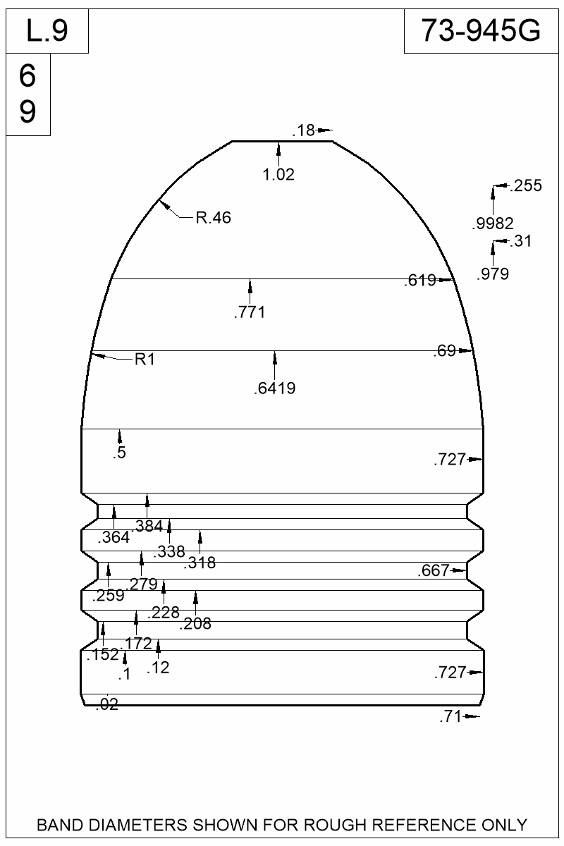 Dimensioned view of bullet 73-945G.