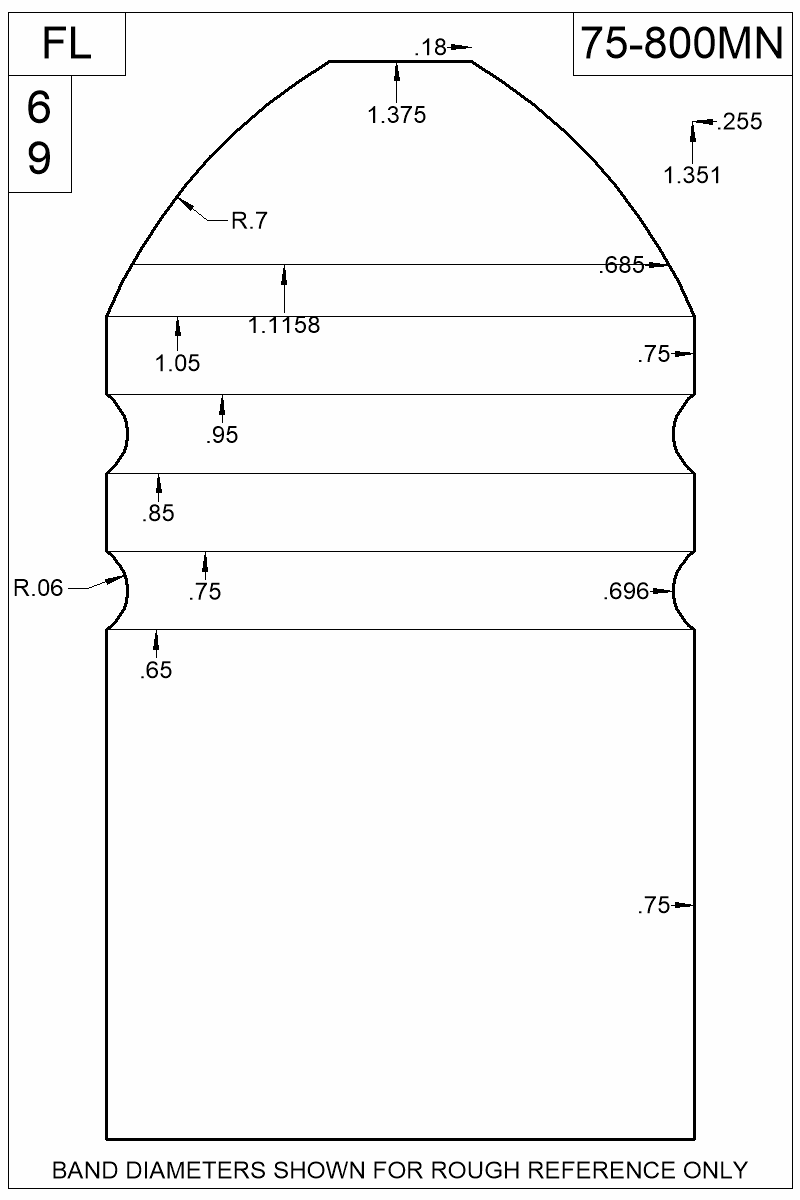 Dimensioned view of bullet 75-800MN.