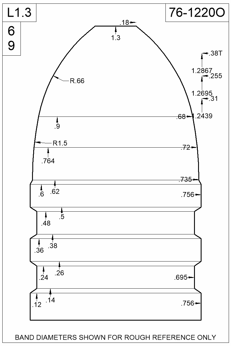 Dimensioned view of bullet 76-1220O.