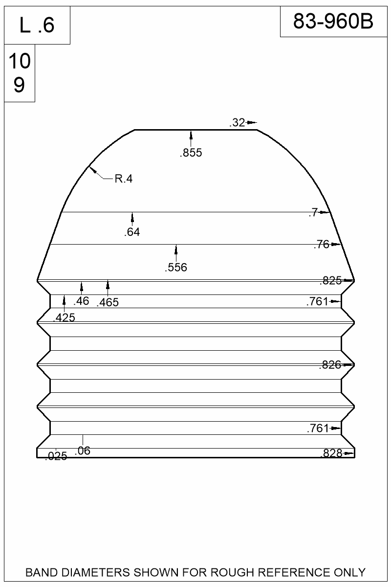 Dimensioned view of bullet 83-960B.