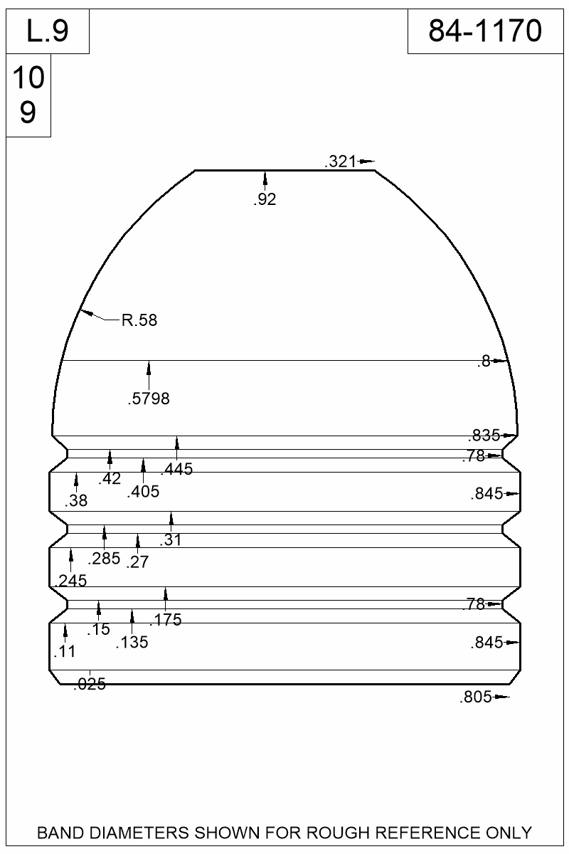 Dimensioned view of bullet 84-1170.