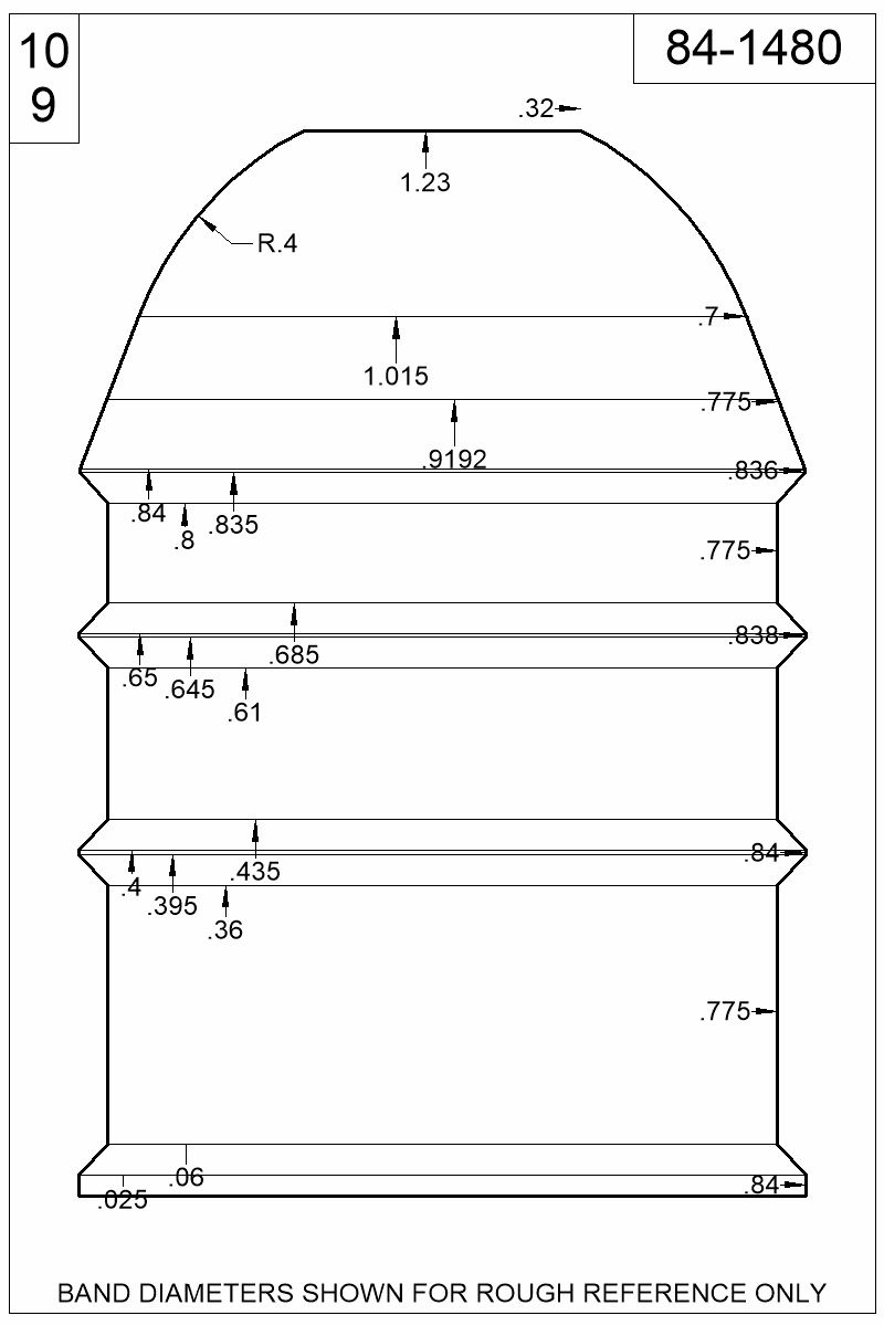 Dimensioned view of bullet 84-1480.