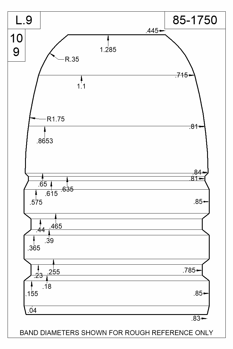 Dimensioned view of bullet 85-1750.